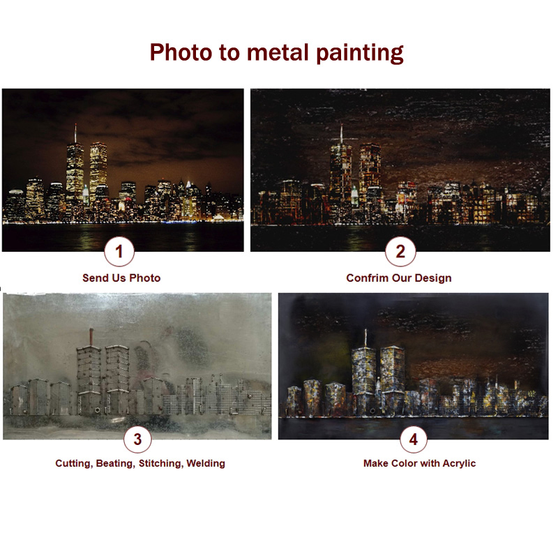 Metal 3D Iron Rustic Painting for Hotel