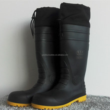 warm removable fur lining safty winter rain boots for mining