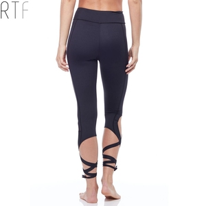 OEM black strappy bandage cropped sport leggings high waist fitness cross sexy dance ballet yoga pants