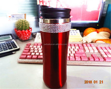 red glitter Insulated Stainless Steel Tumbler Cups , 16oz red Glitter Coffee Travel Mug Insulated Double
