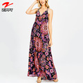 New fashion women dress print floral v neck maxi evening dress for women