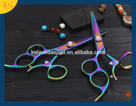 lefty handle hair scissors Chinese manufacturer colorful hair cutting and thinning shear