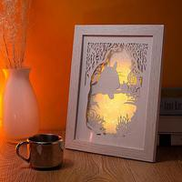 Shadow box frame with LED / lovely 3d wall art / decorative wood photo frame