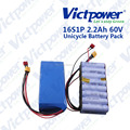 High drain lithium ion battery pack 60V 2.2ah for Unicycle