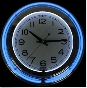 blue Chrome Double Ring Neon Clock