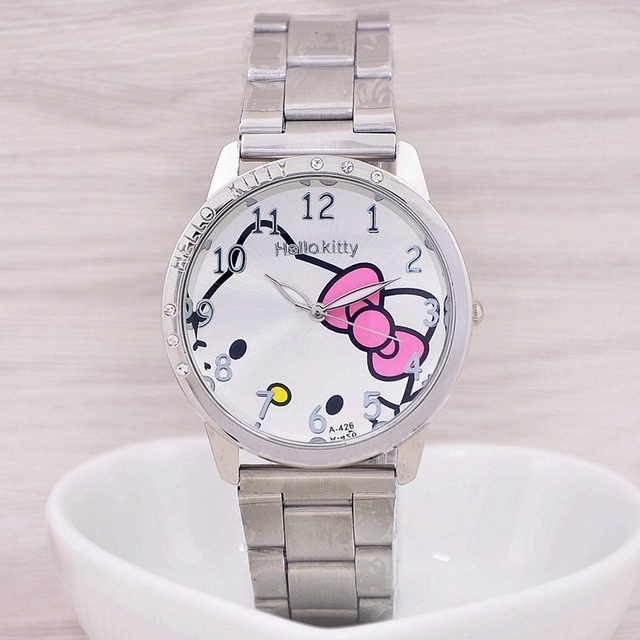 2016 New Fashion Brand Hello kitty watch Women Dress kids hellokitty Watches Cartoon Leather Quartz wristwatch montre enfant