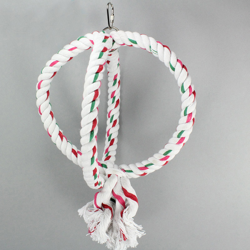 hot selling circle round cotton rope hanging balancing bird toy T21
