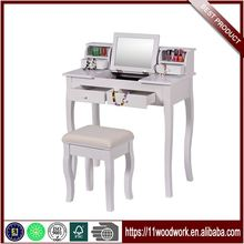 OEM Wooden Dressing Makeup Table With Stool And Mirrors