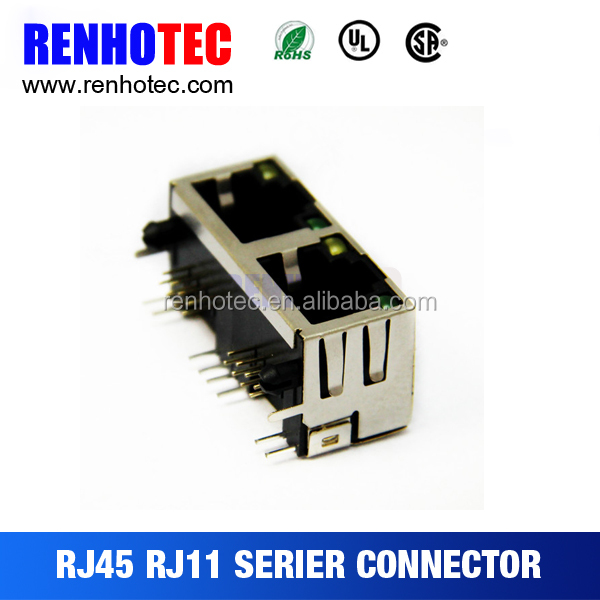 1 x 2 type dual port rj45 modular jack with led