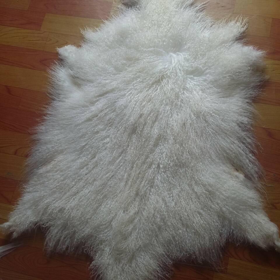 Long Hair Curly Goat Fur Real Mongolian Tanned Sheep Skin