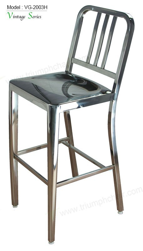 Triumph polished stainless steel high bar stools / lab high chairs / public waiting bar chairs