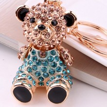New Bear with colorful diamond keychain Fashion designed metal keychain
