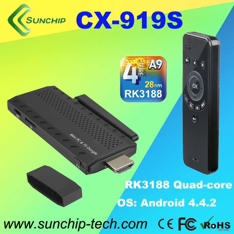 SUNCHIP CX-919STV BOX android tv box quad core/OS:Android4.2(bulit-in Bluetooth) / CPU:Rk3188 Quad Core 1.8 (Cortex-A9)/RAM:DDR3