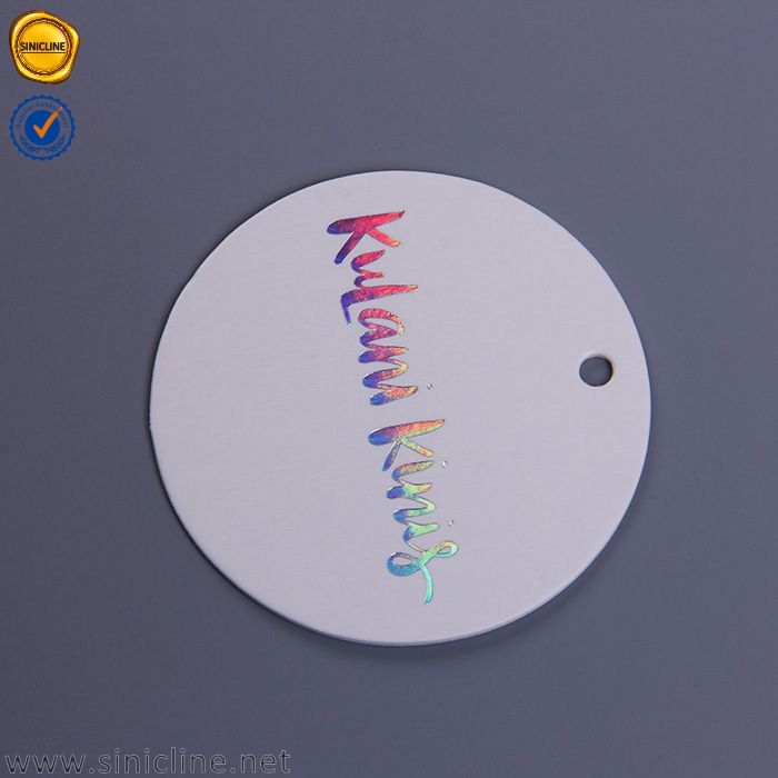 Sinicline custom hologram foil stamping hangtag round hang tags for garments