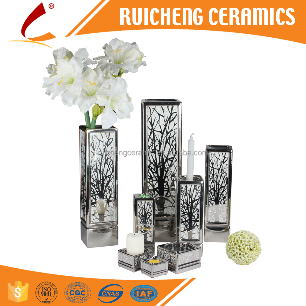 Electroplating isolation Silver Ceramic Vase and Candlelholder