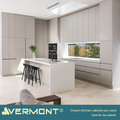 2018 Hangzhou Vermont High End Bespoke Custom Flat Pack L shaped Light Grey Color Modern Modular Kitchen