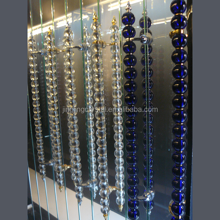 Glass aluminium door handle with long crystal glass ball for Crystal bureau knobs