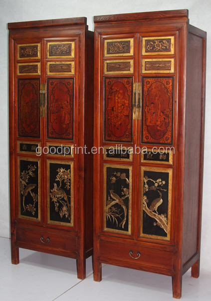 Antique reproduction Armoire with carved doors- Antique reproduction Furniture