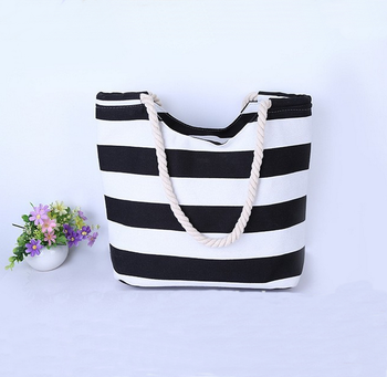 Black white canvas rope handle beach bag stripe canvas beach tote bag