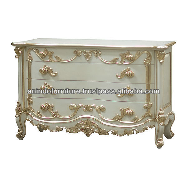 Ivory Painted 4 Drawers Desk with Gold Trim