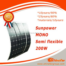SUNPOWER flexible solar panel flexible thin film solar panel200W with hot sell in USA