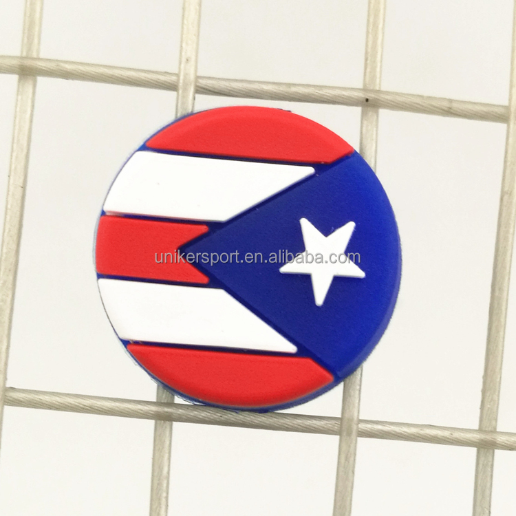 Hot sale round shape Puerto Rico country flag tennis racquet dampeners/tennis string vibration dampeners/shock absorbers