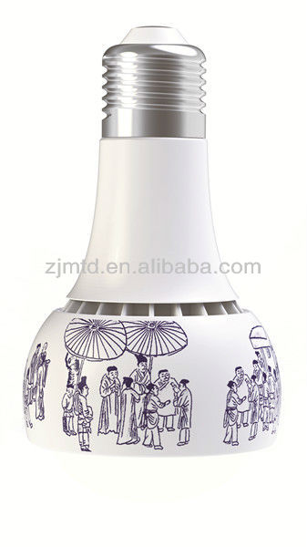 "festive led bulb Artistic lighting LED ceramic lamp ,LED ceramic bulb,ceramic holder ""Ascending the River at Qingming Festival"""
