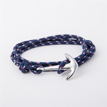 Wholesale Women Multilayer Handmade Nautical Rope Hook Anchor Bracelet Men Anchor Bracelet