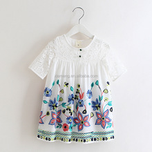 2016 casual party wear summer frock short sleeve kids fashion dresses pictures
