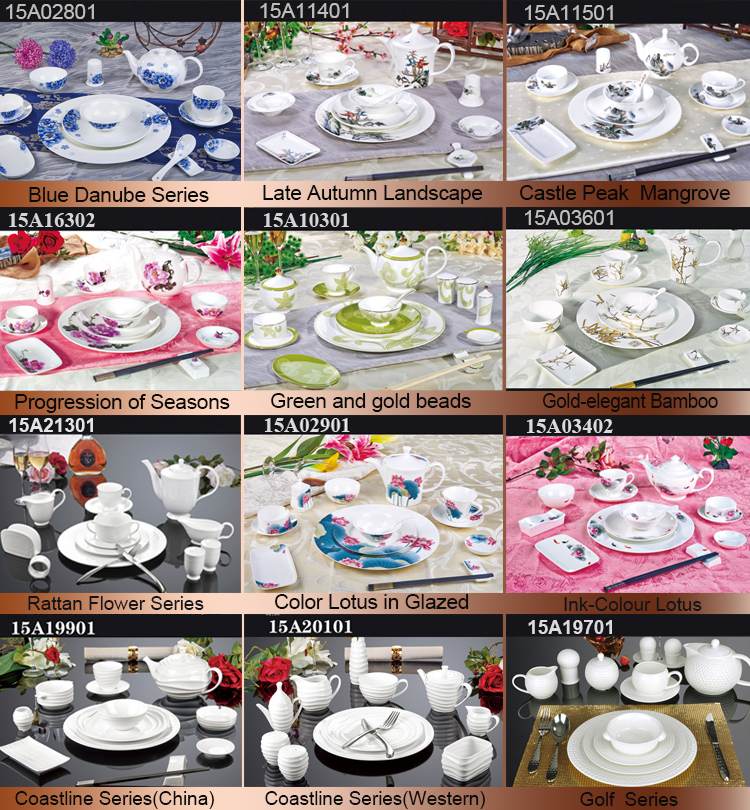 Various colorful decal porcelain dinnerware sets of bone china for hotel and restaurant