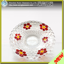 Flower Shaped Hand Painted Decorative Clear Crystal Glass Sugar Candy Bowl