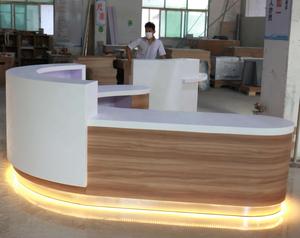 Wooden round shape modern white reception desk