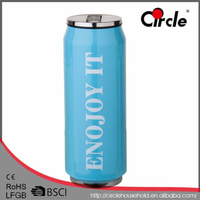 330ml Double Wall Stainless Vacuum Cola Can with Silicone Ring