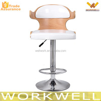 WorkWell KW-B2354a high quality adjustable height wood bar chair with pu