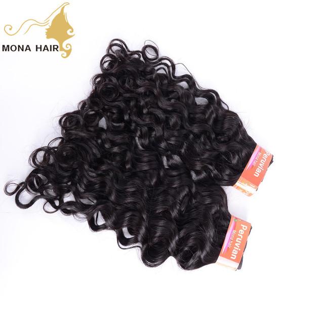 Unprocessed nature black Water Wave Peruvian human hair weaving virgin peruvian raw hair wholesale