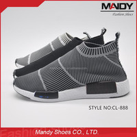 2016 Hot selling fashion flyknit fabric running shoes no laces