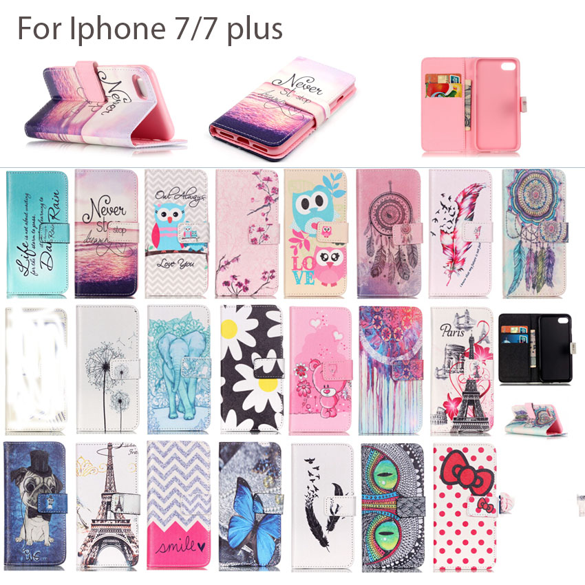Fashion Cute Hot selling Magnetic Wallet PU Leather Stand Protective Case For Iphone 7 7 plus Mobile phone Cover Many Patterns