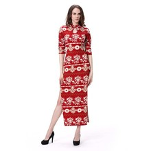 2015 new design printing stand collar dress women maxi bodycone dress
