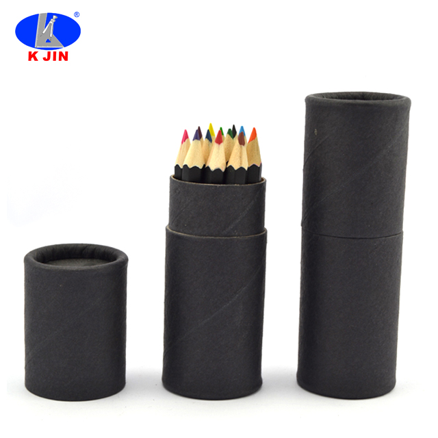 fiber container packed 8.8cm black coated high grade colour lead pencil set 12pcs