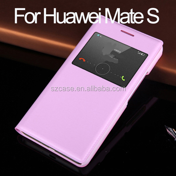 PU leather case cover for huawei Mate S , smart window cell phone case,case for mate s