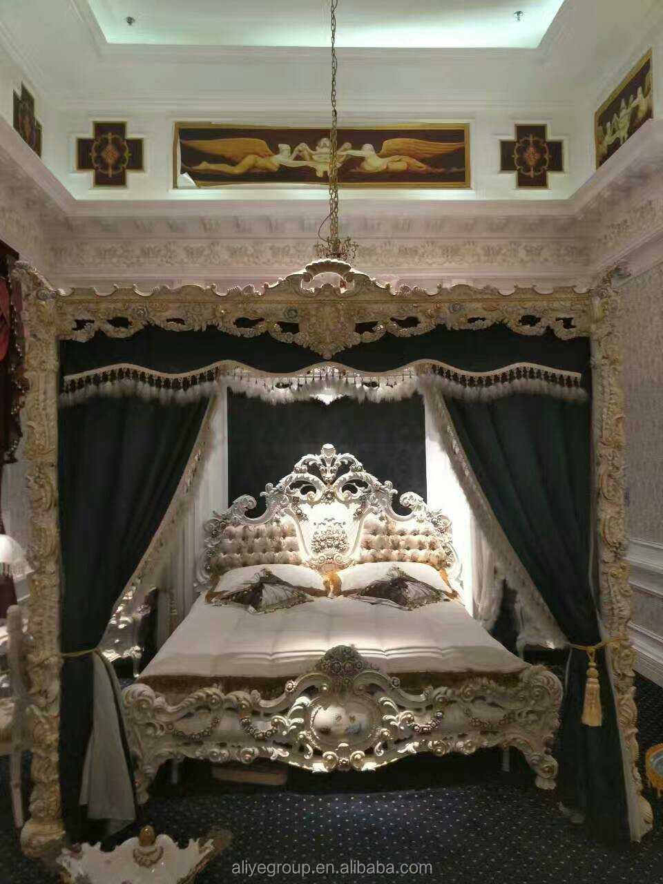 LU002-italian French russian royal furniture carved white bedroom ...