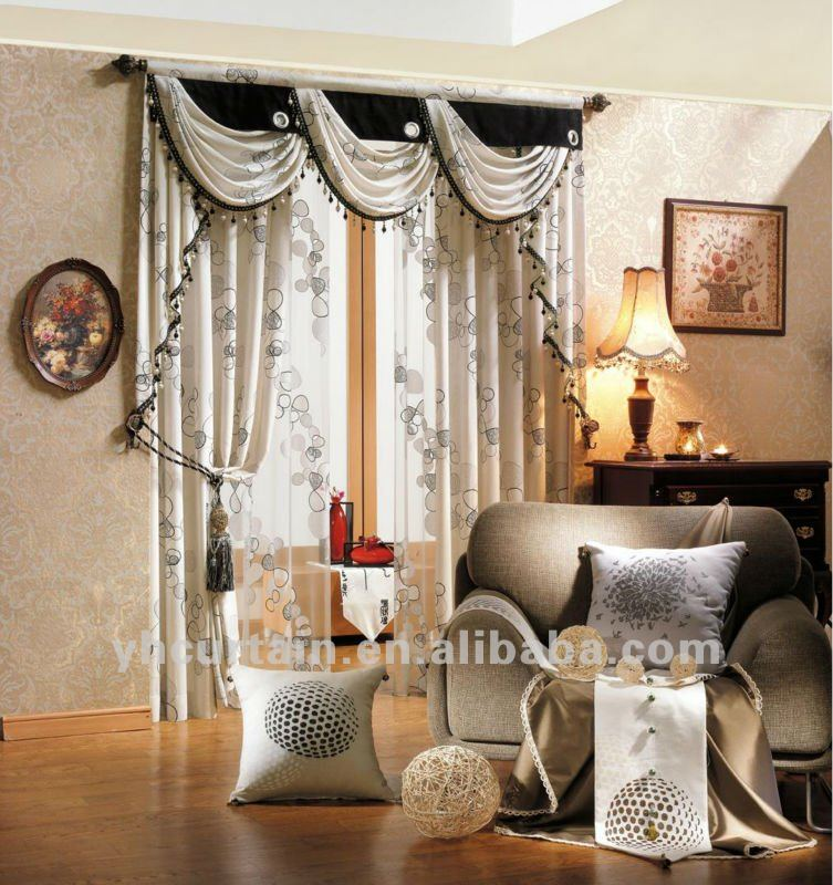 Luxury hotel curtains with elegant valance curtain