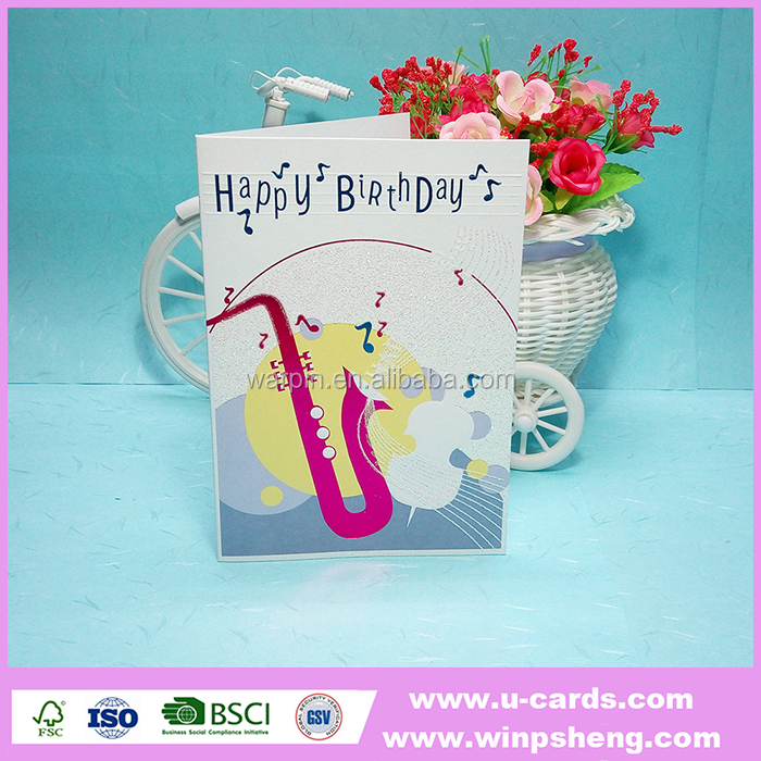 New arrival gold stamping handmade birthday card designs
