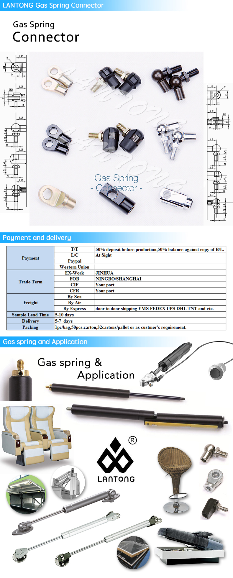 Accept OEM LANTONG Stainless Steel Adjustable Gas Spring Gas Lift