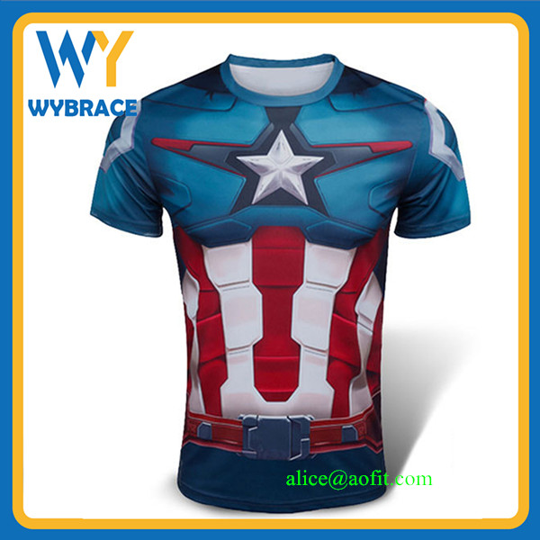 Men Marvel Superhero Superman/Spiderman/Captain America T Shirt Sport Fitness Gym Running Compression Tights Tee Shirt