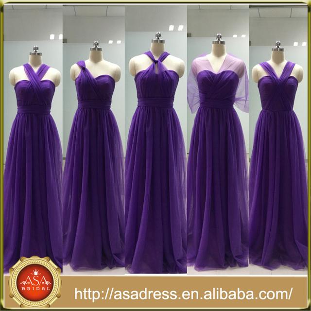 ASAM-17 Hot Sale Floor Length Tulle Pleats Purple Bridesmaid Dress Seetheart Convertible Bridesmaid Dresses