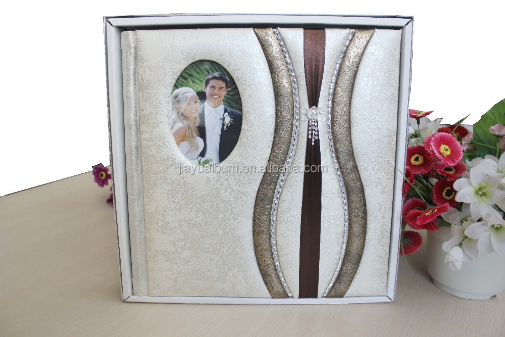 western stylish PU leather wedding photo album adhesive 20 sheets