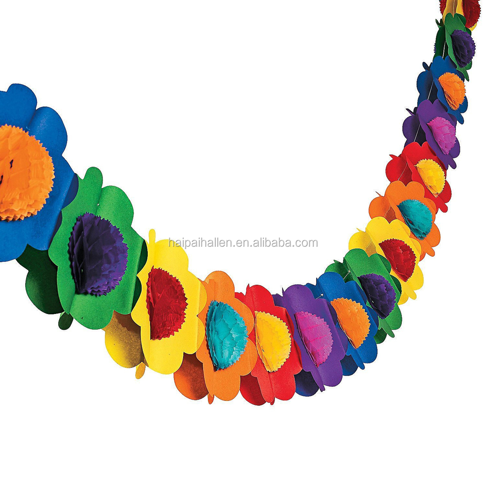 4M Summer Beach Multi Rainbow Decoration Flower Floral Bunting Garland