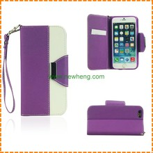 Double color stylish magnet flip wallet leather case for iphone 6 7 8 4.7 inch