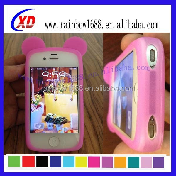 Cute mobile phone silicon case, animal silicone phone case
